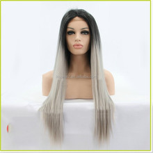 Root ombre grey kanekalon heat resistant fiber lace front wigs silky straight wigs
