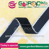 Silver Metallic edged Velvet Ribbon ,High Quality Black Nylon Ribbon For Garment Decoration