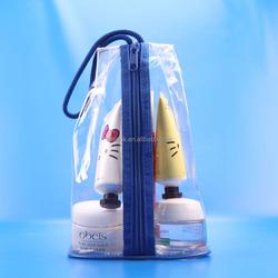 0.2mm clear pvc blue drawstring bag