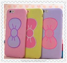 Pink Girl Lovely 3D Bow-knot Soft Silicon Rubber Case For iPhone 6 4.7 inch Slim Stand Holder Back Cover & Bags For iPhone6