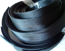 "Black PET Expandable Braided 2"" to 4"" Mesh Cable Protection Sleeve"