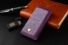 Purple Fabric case for iphone, PU leather and fabric design, wallet case design