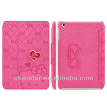 New Lovely Knot Hello Kitty PU Leather For Apple iPad mini Stand Cover Folio Case For Apple iPad mini