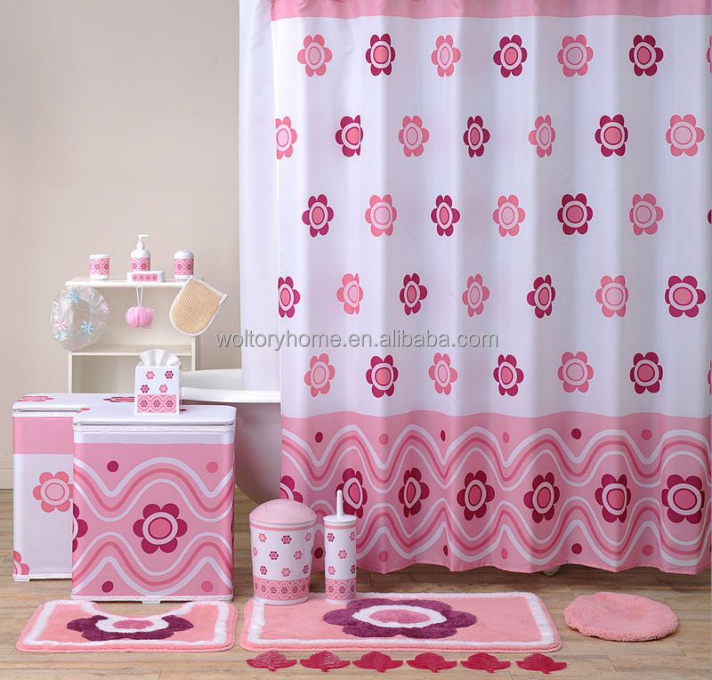 Hot sale bathroom set Shower Curtain and matching PP Bath Accessories ...