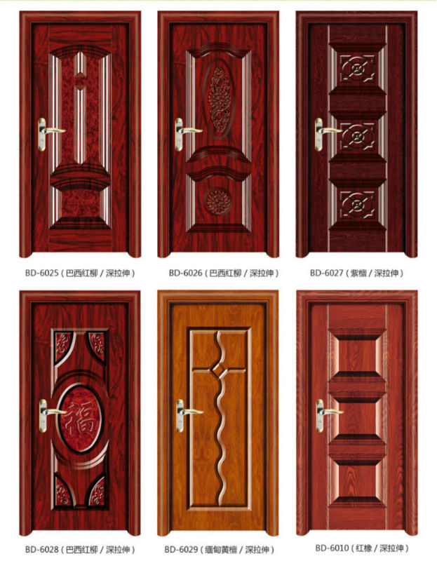 2014 new product grain interior steel wooden main door for New main door design