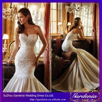 New Arrival Beautiful Sleeveless Applique Backless Satin Ruffle Crystal Mermaid Sweetheart Wedding Dress With No Back(CC3599)