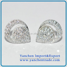 Brass Zirconia Earring Stud Pave Setting Rhodium Plated