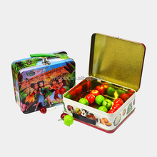 Recyclable Feature customized factory tin can/tin case/metal packaging lunch tin box with plastic handle