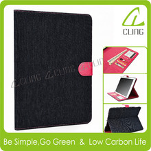 Tablet cover for ipad air 2 leather case eco friendly jean material with pc back Tablet cover for ipad air 2 leather case eco fr