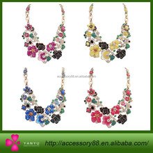 Fashion beautiful brand multicolor flower shaped beautiful necklace, pastoral style flower exaggerated ornaments