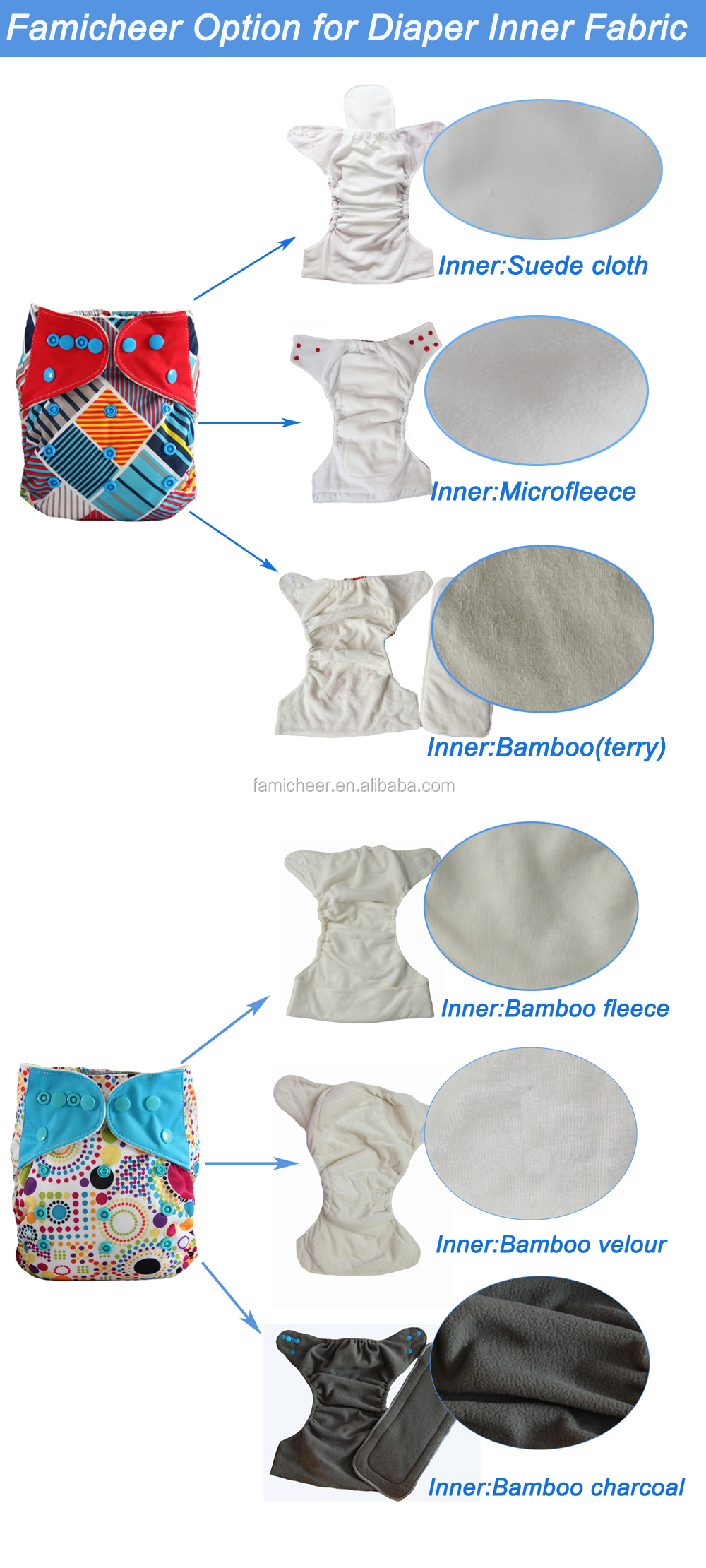 2015 Famicheer New Arrival Print Wholesale Bamboo AIO Modern Cloth Diaper