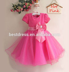 2015 walson Hot sales baby girl summer pink dress birthday party dress flower girl's dresses