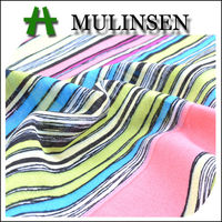 Mulinsen Textile Hot Sales Printed Woven Voile Cotton Stripe Fabric