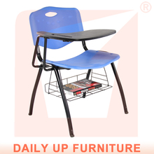 ESCROW-Used School Furniture Plastic Tables and Chairs with Writing Tablet Stainless Steel Chair Leg Promotion Product