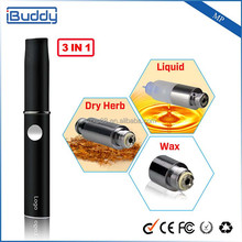 2015 Best selling best quality iBuddy-MP 3 in 1 vaporizer pen 3 different cartridges Oil, Dry herb & Wax