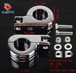 "ZJMOTO MOTORCYCLE FOOT PEGS CLAMP BILLET FOOTPEG KIT SPORTSTER CRUISER CAFE RACER CHOPPER 1 1/4"" FOOTREST MOUNTING KIT CLAMP"