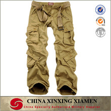 wholesale top quality enzyme washed khaki cargo trousers for men