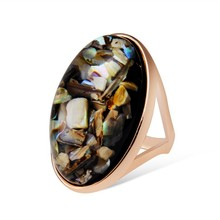 [R030]China wholesale fashion jewelry ring, Pigeon egg with Crushed shells fashion big Ring
