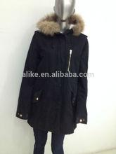 real de piel con capucha chaqueta para las mujeres a largo parka
