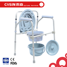 Steel folding all-in-one commode, medical portable toilet chair for elderly