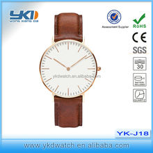 Cheap leather soft band watch with sliver case or gold case watches