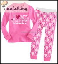 cotton pink nightwear for girls i love my daddy printed pyjamas