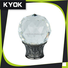 Trend style factory price elegant clear crystal curtain finials luxury window decor
