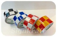 High Visibility PVC material, self adhesive 1500 Checkerboard printed Reflective Tape for vehicles