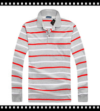 Custom Factory Supply Cheap Men's Long Sleeve Polo Shirt With Stripes