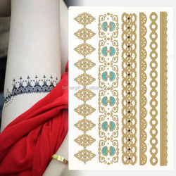 China gold tatoo temporary stickers diy crown gold arabic temporary tattoo