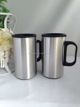 Manufacturer Direct Production double wall stainless steel coffee mug with plastic handle