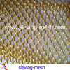 Gold color metal curtain screen mesh, carbon steel chain link wire fabric