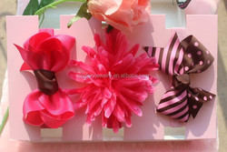 Cute and lovely infant headbands set,3pcs/card,2 bows and 1 silk flower headbands in gift box
