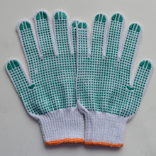 Hot!!! L/10 gauge hot selling palm pvc dotted cotton working gloves/green polka pvc dot/anti-slipping/55g