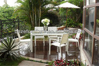 Rattan Garden Furniture dining set Synthetic Rattan table and stackable chair