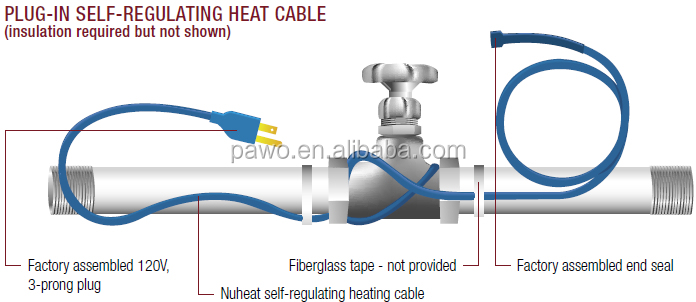 Easy heat with thermostat water pipe heat tape view water for Best pipe for water lines