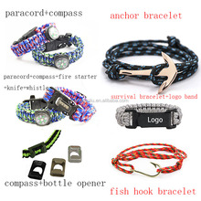 2015 Mixed paracord survival bracelet compass bracelet,fire starter/bottle opener paracord bracelet for outdoor sports