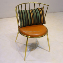 Gold stainless steel dining room banquet chair
