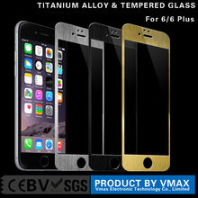 Trade assurance supplier !! Full Cover 0.2mm 9H Hardness Titanium Alloy Color tempered glass screen protector for iPhone 6 Plus