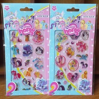 free shipping wholesale 200sheets hotsale 3D epoxy sticker my little pony horse kids stickers cartoon toy gift for kids