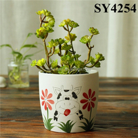 Pot for flower printing white small ceramic plant pot wholesale