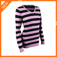 2015 lastest design crewneck stripe long sleeve women's 100% acrylic pullover sweater