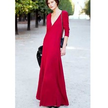 2015 New fashion ladies OEM woman sexy red V-Neck long maxi dress women
