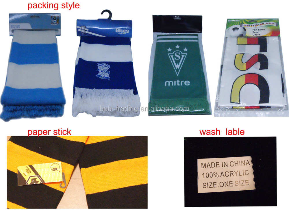 Factory supply promotional soccer club scarf, football knitted sport scarf.jpg