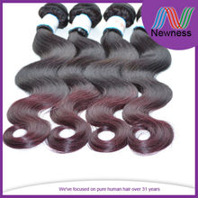 Hot selling 100% brazilian hair weave colored two tone burgundy human hair extension