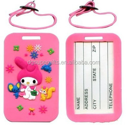 children silicone PVC luggage tages, cartoon design luggage tags wholesales
