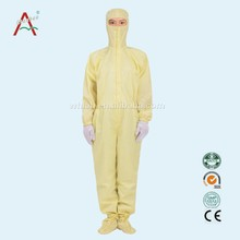 LABY-013-4-5 Yellow 100% cotton fabric cleanroom products with safety shoe price for safety coverall