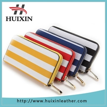 Zipper around stripe paiting design leather wallet / stripe clutch bag for lady