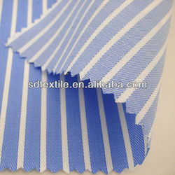 100% cotton woven yarn dyed navy blue and white stripe fabric
