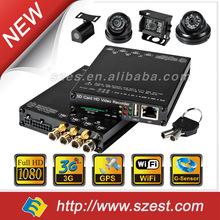 Alta definición H.264 DVR móvil del coche kit con 4CH red inalámbrica WIFI + 3 G + GPS